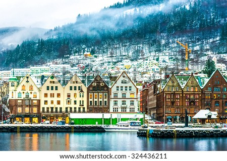 view on Bruges. Bergen Norway - stock photo