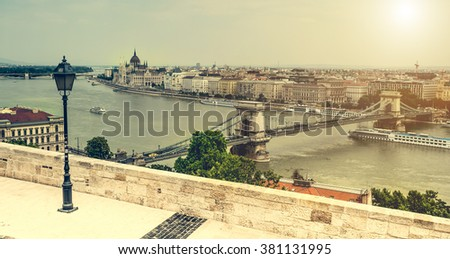 view on Budapest and Danube - stock photo