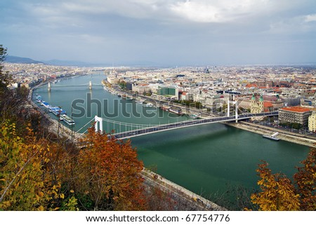 View on Budapest and Danube from Citadella, Hungary - stock photo