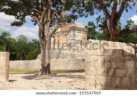 View on buildings of archaeological zone Chichen Itza, Mexico