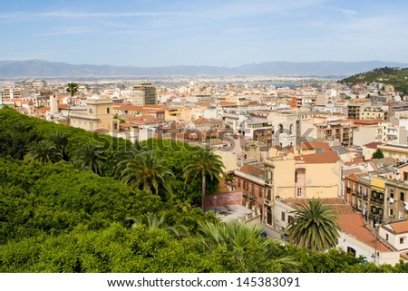 View on Cagliari from the old town. Sardinia, Italy - stock photo