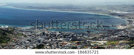 View on Cape Town, South Africa, from the top of Table Mountain. - stock photo