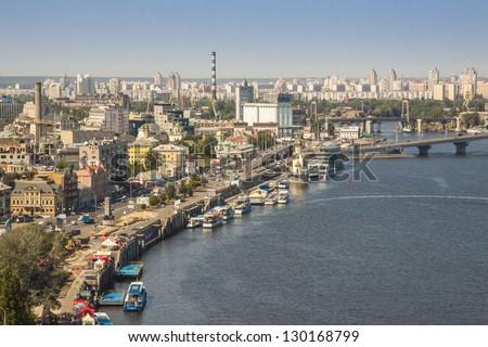 View on capital of Ukraine - Kiev. Sunny summer day. - stock photo