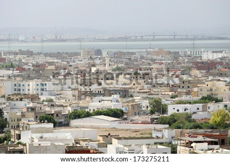 View on Carthage and La Goulette port with ships as seen from Byrsa Hill, Carthage, Tunis, Tunisia, - stock photo