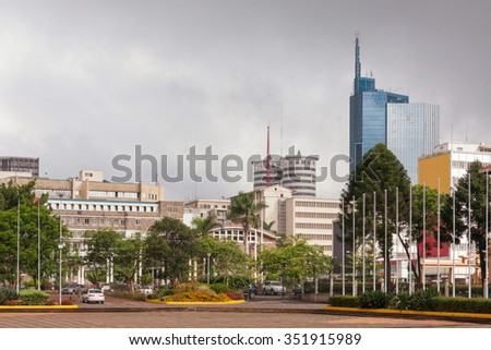 View on central business district of Nairobi. Kenya.    - stock photo