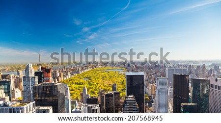 View on central park in New York - stock photo