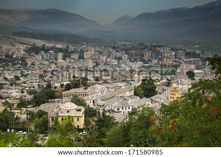 View on City of Gjirokastra located in Albanian near boarder of Greece - stock photo
