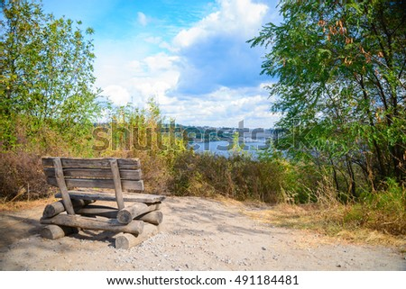 view on Close-up picture of an old wooden bench