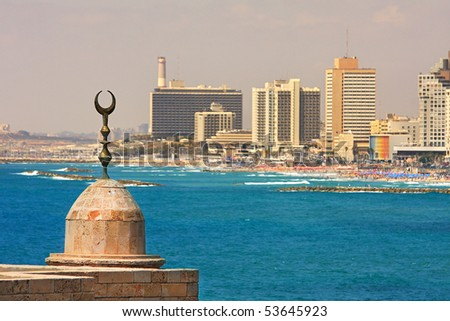 View on coastline with new modern building in Tel Aviv, Israel. - stock photo