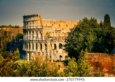 View on colosseum from forum romanum in Rome - stock photo