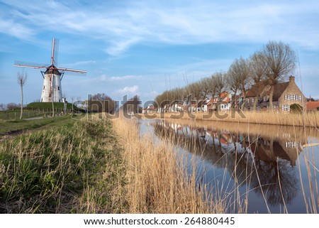 View on Damme, one of the most beautiful medieval little villages in Flanders, Belgium - stock photo