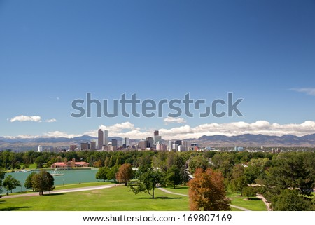View on denver skylight in fall - stock photo