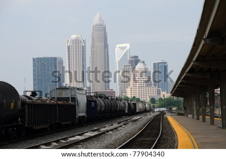 View on downtown Charlotte, NC from train station - stock photo