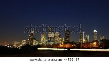 View on Downtown Houston - Dark Night, Texas - stock photo