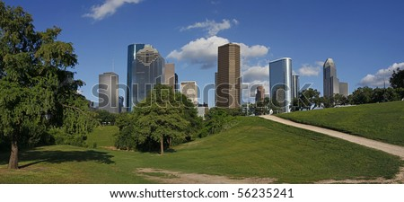 View on Downtown Houston from the Park - stock photo