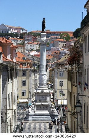 View on downtown Lisbon with statue of Fallecue - stock photo
