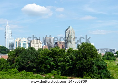 View on downtown Raleigh, NC - stock photo