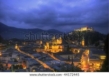 view on downtown Salzburg - stock photo