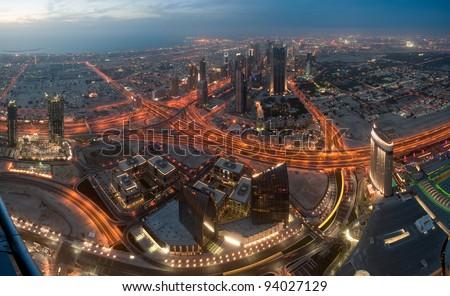 View on Dubai from Burj Khalifa tower, UAE - stock photo