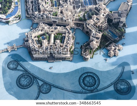 View on Dubai from the highest tower in the world, Burj Khalifa - stock photo