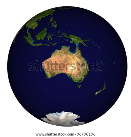 View on Earth, centered on Australia