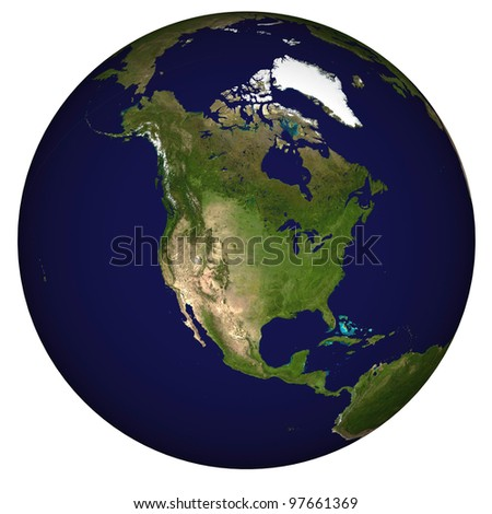 View on Earth centered on United States of America - stock photo