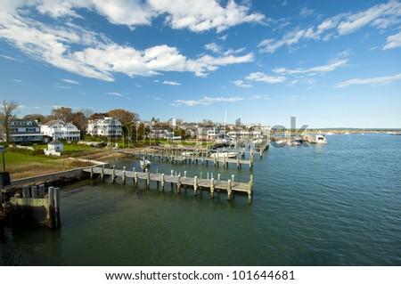 view on Edgartown Harbour, Martha�´s Vineyard, New England, Massachusetts, USA, Blick auf den Hafen von Edgartown auf Marthas Vineyard, Neu England - stock photo