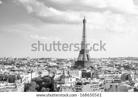 View on Eiffel Tower from Arc de Triomphe (black and white), Paris, France - stock photo