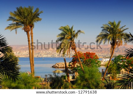 View on Eilat in Israel from Aqaba in Jordan: diving destinations on the Red Sea - stock photo