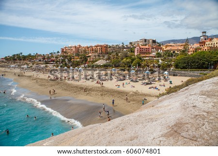 View on El Duque beach with beach houses in Costa Adeje,Tenerife, Canary islands,Spain.