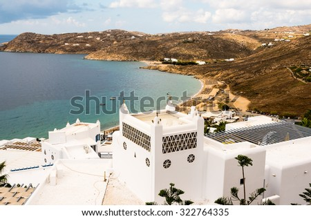 view on Elia beach on Mykonos - stock photo