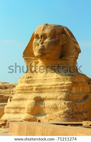view on famous ancient egypt sphinx in Giza - stock photo