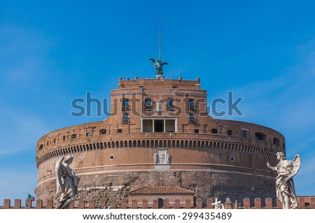 View on famous Saint Angel castle in Rome, Italy. - stock photo