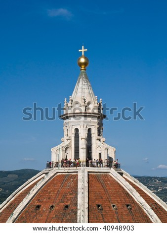 View on Florence Duomo from Campanile tower. Blue sky on a sunny day. Duomo Santa Maria Del Fiore. - stock photo
