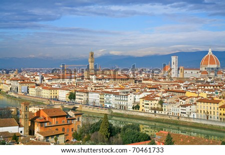 view on Florence (Italy) from Michelangelo Park - stock photo