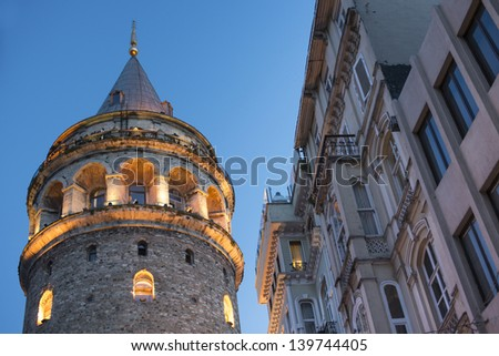 View on Galata tower in the Evening - stock photo