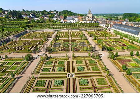 View on garden and village Villandry from the top of a tower, France. - stock photo