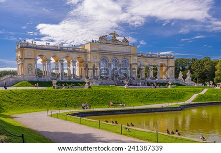 View on Gloriette structure in Schonbrunn Palace, Vienna, Austria - stock photo