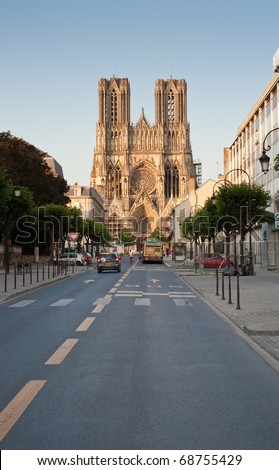 view on gothic catholic Notre Dame Cathedral in Reims, France - stock photo