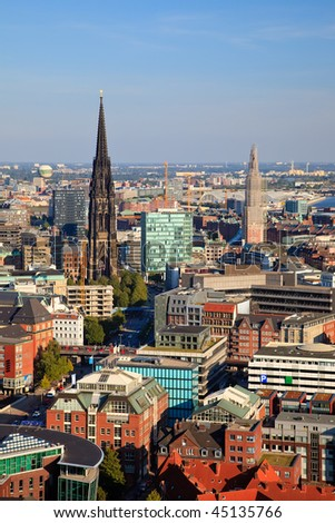 View on Hamburg from Michel, Germany - stock photo