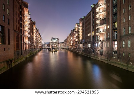 View on Hamburg Speicherstadt at night - stock photo