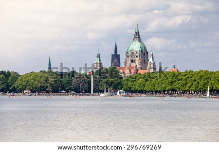View on Hannover cityscape from Maschsee