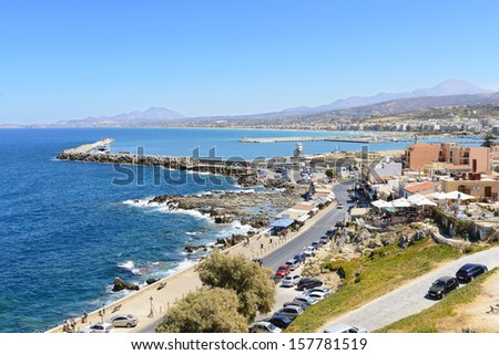 View on harbor of Rethymno town from fortress Fortezza. Crete. G