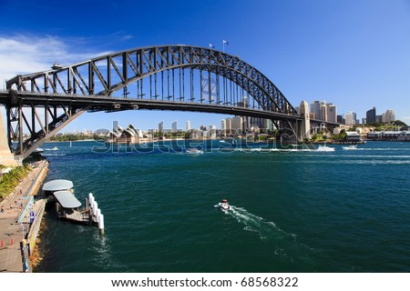 View on Harbour Bridge arch over harbour Sydney Australia and opera house from Luna park attraction sunny summer day - stock photo