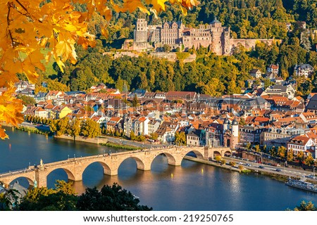 View on Heidelberg at autumn, Germany - stock photo