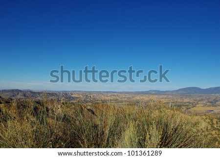 View on high desert and mountains from Maricopa Highway near Reyes Peak, California