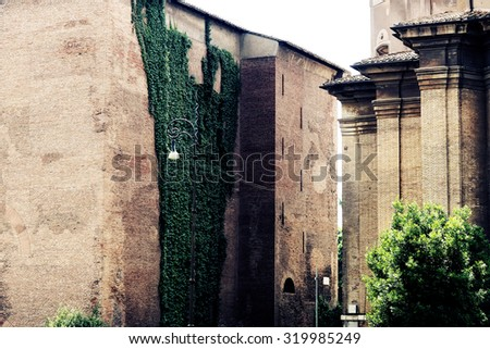 View on high stony brown brick wall of building with beautiful big lush climber with green leaves street lamp outdoor sunny day, horizontal picture - stock photo