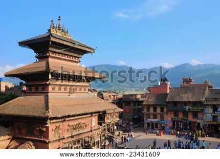 View on hinduist temple and square in Bhaktapur (Nepal) with mountains in behind