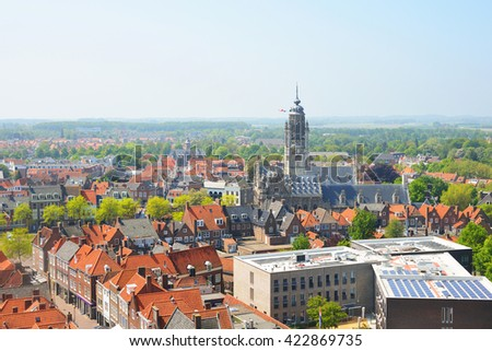 View on historical Dutch city of Middelburg with red rooftops. The Netherlands.