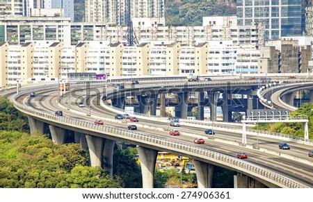 view on Hong Kong highway bridge at day - stock photo